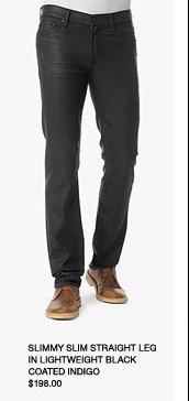Slimmy Slim Straight Leg In Lightweight Black Coated Indigo