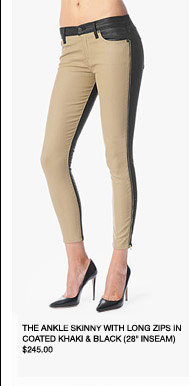 The Ankle Skinny With Long Zips In Coated Khaki & Black