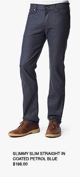 Slimmy Slim Straight Leg In Black Coated Petrol Blue