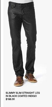 Slimmy Slim Straight Leg In Black Coated Indigo