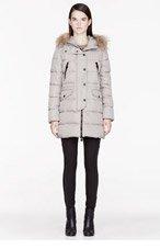 MONCLER Light grey down & Fur Fragon parka for women