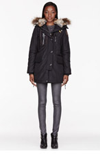 PARAJUMPERS Black Raccoon Fur Hooded Kodiak Coat for women