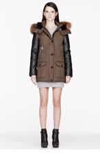 MACKAGE Olive Leather & Down Lux Cynthia Coat for women