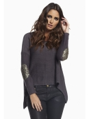 Elan International Hi/Low Sequin Elbow Patch Sweater in Charcoal