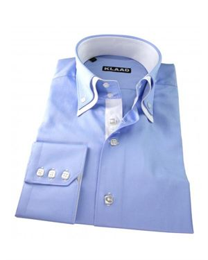 Klaad Solid Color Button-Up 100% Cotton Shirt Made In Europe