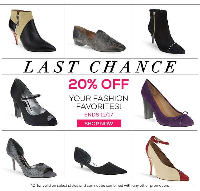 Last Chance 20% OFF Your Fashion Favorites