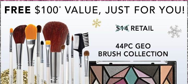 Free$100 Value, Just For You!  44PC Geo Brush Collection