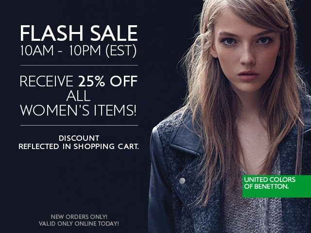 Ladies save 25% off ALL women's products today until 10PM!