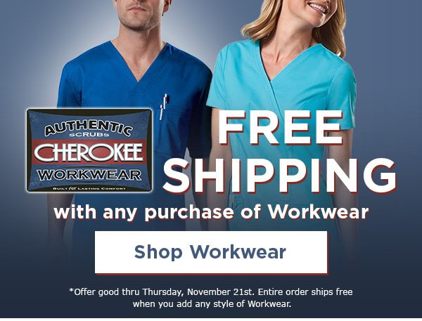 Free Shipping with any purchase of Workwear - Shop Workwear