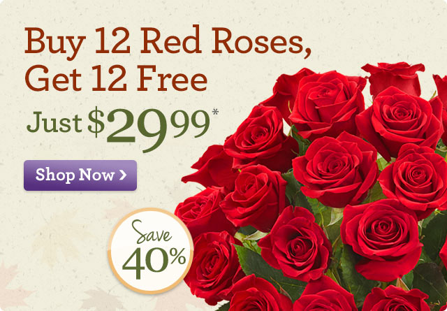 Buy 12 Red Roses, Get 12 Free - Just $29.99* Save 40%