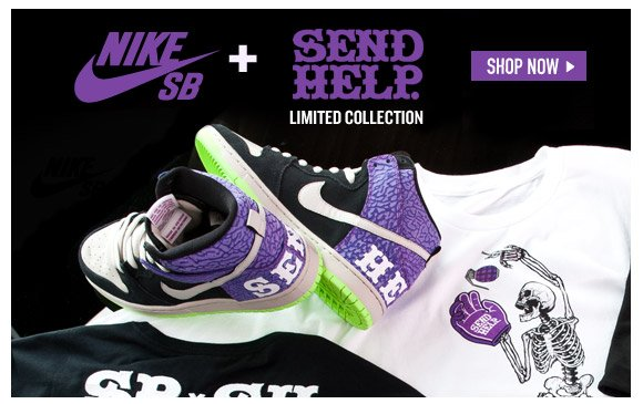 Skate Shoes: NikeSB + Send Help. Limited Collection