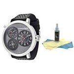 Freestyle 101163 Men's Passage Grey Dial Dual Time Silicone Strap Compass Watch with 30ml Ultimate Watch Cleaning Kit