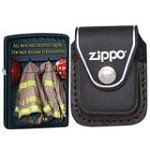 Zippo 28316 Classic Fireman Coats Black Matte Windproof Lighter with Zippo Black Leather Clip Pouch