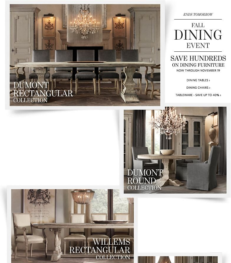 Ends Tomorrow - Fall Dining Event - Save Hundreds on Dining  Furniture. Save up to 40% on Tableware.