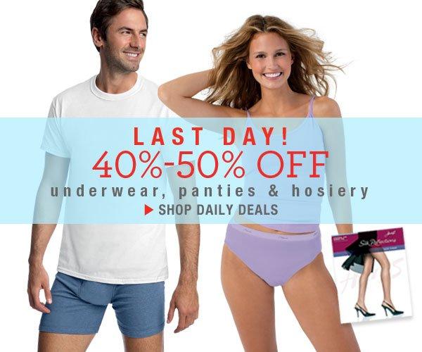 Last Day: 40-50% off Panties & Hosiery