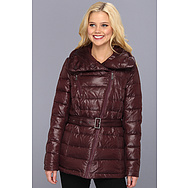 DKNY Short Down Belted Moto Coat