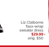 Liz Claiborne faux-wrap sweater dress $29.99 › orig. $50