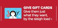 GIVE GIFT CARDS | Give them just what they want, by the sleigh  load ›