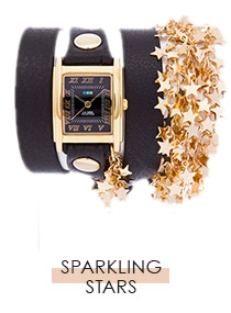 Black-Gold Sparkling Stars Chain Wrap