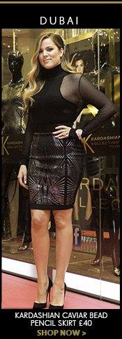 Kardashian Caviar Bead Pencil Skirt