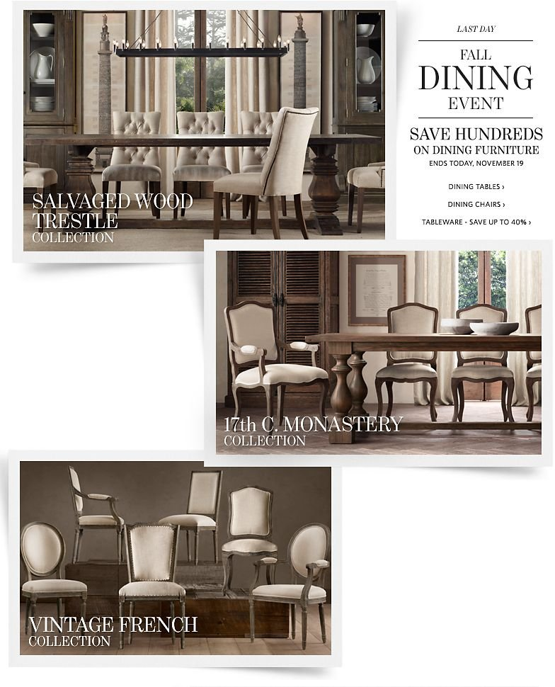 Last Day - Fall Dining Event - Save Hundreds on Dining Furniture. Save up to 40% on Tableware.