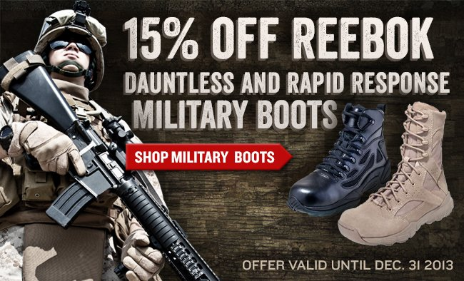 Save 15% On All Reebok Military Boots