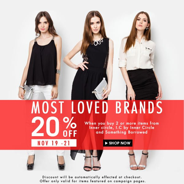 20% off most loved brands