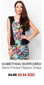 SOMETHING BORROWED Demi Printed Peplum Dress