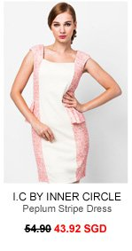 I.C BY INNER CIRCLE Pink Contrast Peplum Stripe Dress
