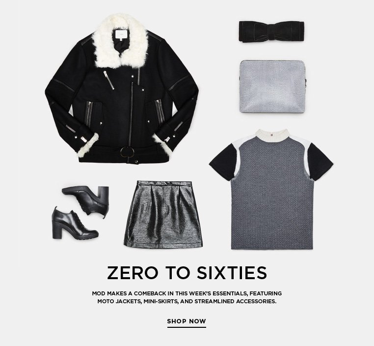 SSENSE Essentials: Zero to Sixties Mod makes a comeback in this week's essentials, featuring moto jackets, mini-skirts, and streamlined accessories.