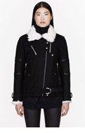 IRO Black knit shearling-trimmed Dansty jacket for women