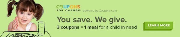 Coupons for Change. You Save. We Give.