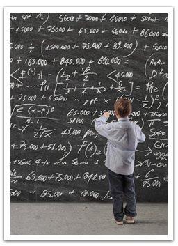 Genius working on math equations