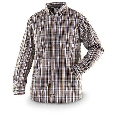 Dickies® Long-sleeved Plaid Button-down Work Shirt