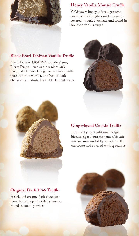 Honey Vanilla Mousse Truffle | Black Pearl Tahitian Vanilla Truffle | Gingerbread Cookie Truffle | Original Dark 1946 Truffle