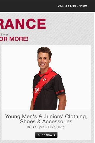 Young Men's and Juniors Clearance