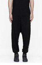 KTZ Black knit-paneled lounge pants for men