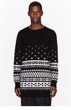 KTZ Black & White Gradiation Pattern Sweater for men