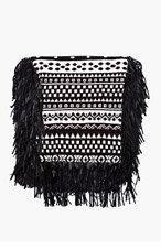 KTZ Black & white patterned fringed scarf for men