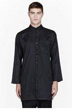 KTZ Black sheen pinstriped long shirt for men