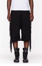 KTZ Black Fringed Shorts for men