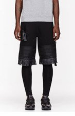 KTZ Black Tattoo Embroidered & Fringed layered shorts for men