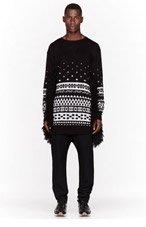 KTZ Black & White patterned fringed sweater for men