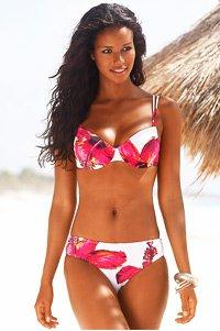 LASCANA White Floral Print Bikini