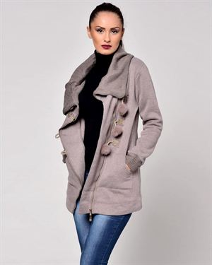 Glamour Pom Pom Embellished Coat Made In Italy