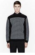 ALEXANDER WANG Black & Grey waffle-embossed sweatshirt for men