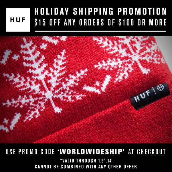HUF ONLINE STORE // HOLIDAY SHIPPING PROMOTION