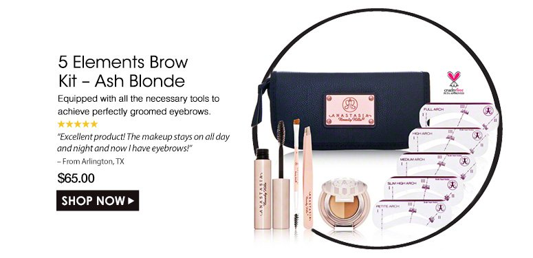"""Cruelty Free. 5 Stars 5 Elements Brow Kit – Ash Blonde Equipped with all the necessary tools to achieve perfectly groomed eyebrows. """"Excellent product! The makeup stays on all day and night and now I have eyebrows! – From Arlington, TX $65.00Shop Now>>"""