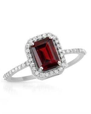 Ladies Garnet Ring Made Of 925 Sterling Silver