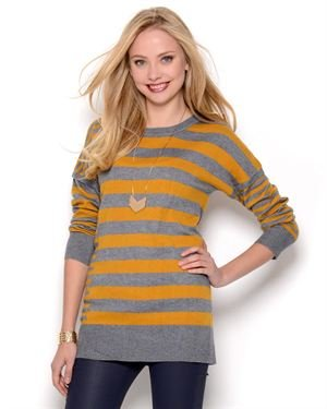 Elio Wool & Cashmere Blend Striped Long Sleeve Sweater